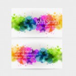 Business card template - front and back side. Watercolor painted line design.